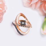 Exquisite Inverted Eternity Black and Champagne Diamond Ring in 18k Rose Gold - Artisan Carat