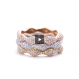 Double Diamond Band Interlocking Ring in 18k White and Rose Gold - Artisan Carat