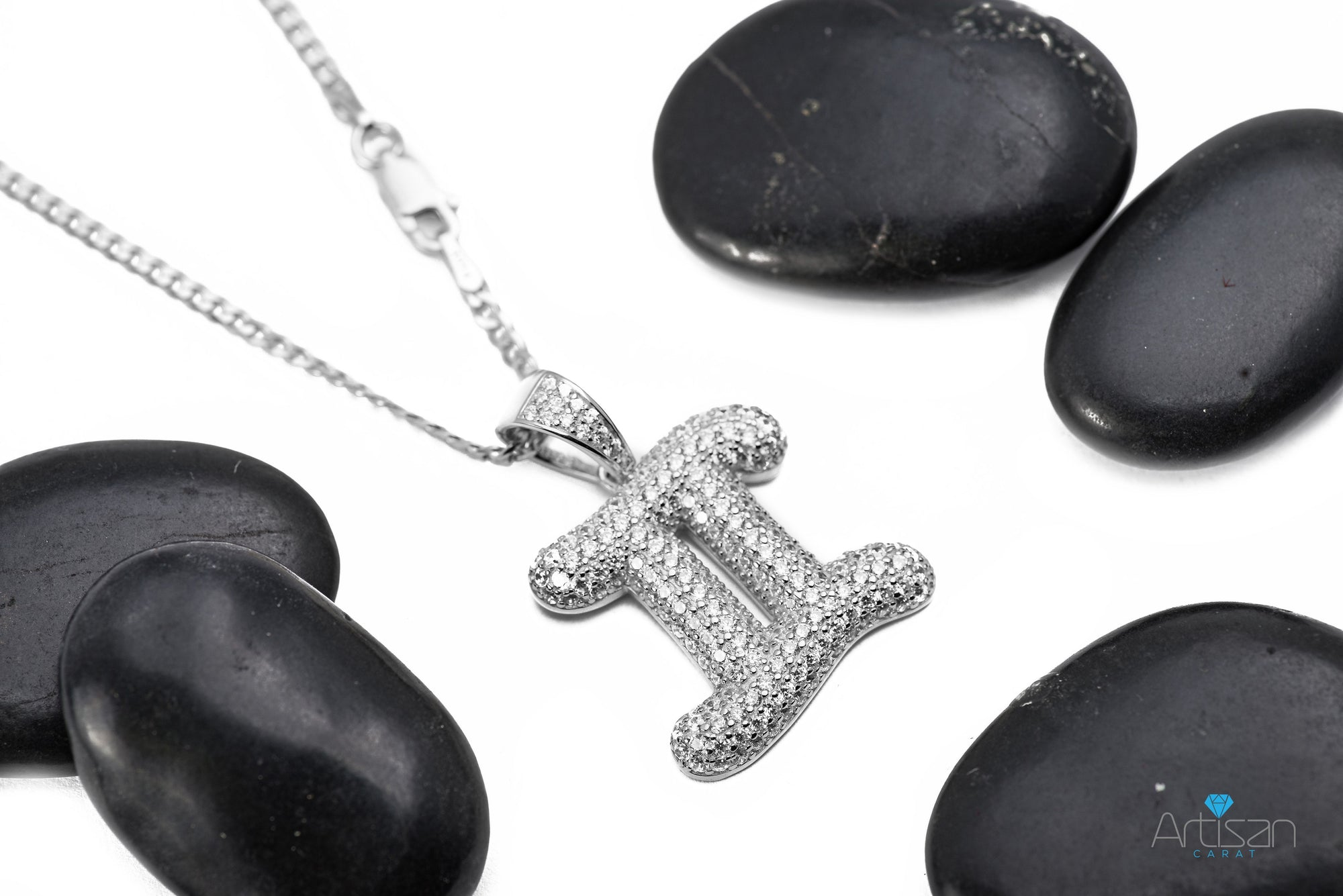 Sterling Silver Gemini CZ Zodiac Twins Sign Pendant with Necklace