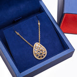 Broken Multi Faceted Diamond Nugget Egg-Shaped Pendant with Necklace in 18k Yellow Gold - Artisan Carat