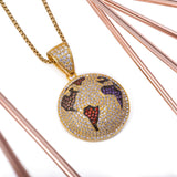 Sterling Silver Flat Globe Gemstones Yellow Gold CZ Pendant with Necklace - Artisan Carat