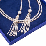 Layering Rice Shape Freshwater Pearl Cross Tie Tassel Necklace - Artisan Carat