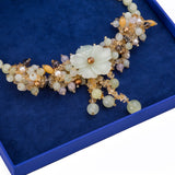 Yellow Jade Flower and Mixed Quartz Necklace with Sterling Silver Clasp - Artisan Carat