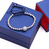 Knitted Beads and Diamond Disco Ball Adjustable Bracelet in 18k White Gold - Artisan Carat