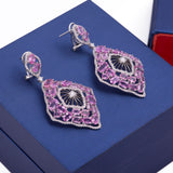 Hanging Multi Faceted Pink Sapphire and Diamond Omega Clip Earrings in 18k White Gold - Artisan Carat