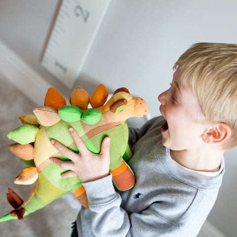 Boy enjoying stegosaurus toy
