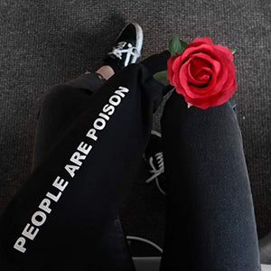 Women's Black Rose Pattern People are Poison Letter Print Black Hoodie Sweatshirt