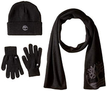 Load image into Gallery viewer, Timberland Men's Double Layer Scarf Cuffed Beanie & Magic Glove Gift Set black One Size