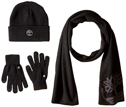 Timberland Men's Double Layer Scarf Cuffed Beanie & Magic Glove Gift Set black One Size