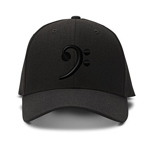 Black Bass Clef Embroidery Adjustable Structured Baseball Hat Black
