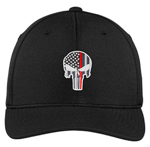 Embroidered Thin Red Line Skull Subdued American Flag Firefighter Flexfit Flex Fit Hat