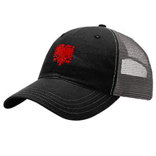 Load image into Gallery viewer, Custom Trucker Hat Richardson Albanian Eagle Embroidery City Name Cotton Snaps
