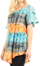 Load image into Gallery viewer, Sakkas Monet Long Tall Tie Dye Ombre Embroidered Cap Sleeve Blouse Shirt Top