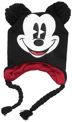Disney Unisex Adult Mickey Mouse Acrylic Knit Winter Laplander Hat with Jumbo Knit Pom Ears and Knit Tassels