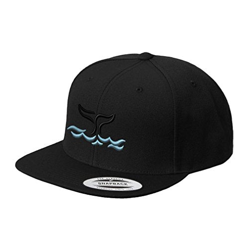 Speedy Pros Whale Tail Out Embroidered Flat Visor Snapback Hat Black