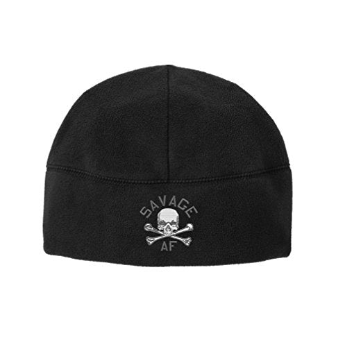 Original Savage AF Skull and Crossbones Veteran Embroidered Beanie Watch Cap