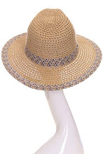 Load image into Gallery viewer, ScarvesMe Women's Adjustable Multi Color Band Accent Straw Beach Summer Brim Sun Hat