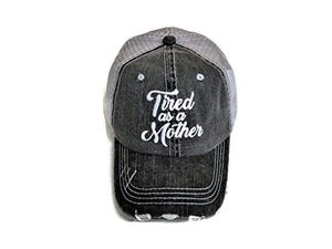 Embroidered Tired As A Mother Distressed Look Grey Trucker Cap Hat