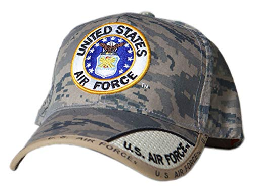US HONOR TM Embroidered Digital Pixel Camo Air Force Round Logo Baseball Caps Hats
