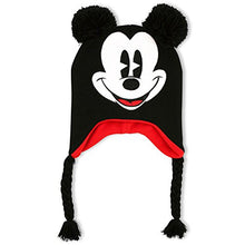 Load image into Gallery viewer, Disney Unisex Adult Mickey Mouse Acrylic Knit Winter Laplander Hat with Jumbo Knit Pom Ears and Knit Tassels