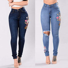 Load image into Gallery viewer, Eaktool Elastic Waist Slim-fit Elastic PantsFashion Women Embroidered Button Pocket High Waist Denim Pants Skinny Slim Jeans
