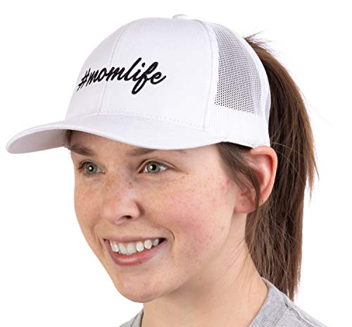 #Momlife  Ponytail Trucker Hat Funny Cute Mom Life Mommy Mother Pony Tail Cap