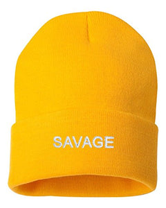 Adult Savage Embroidered Cuffed Knit Beanie Cap