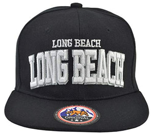 Long Beach Hat Snap-Back Black Hat White Embroidered