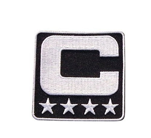 Black Captain C Patch Iron On for Jersey Football Baseball Soccer Hockey Lacrosse Basketball