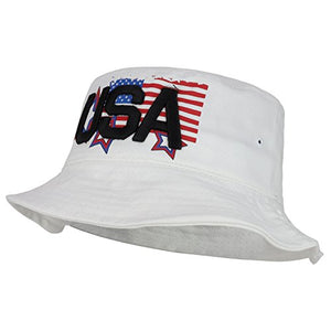 Trendy Apparel Shop USA Text 3D Embroidered Star Flag Printed Cotton Bucket Hat