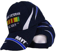 Load image into Gallery viewer, US Navy Vietnam Vet Veteran Ribbon Dark Blue Embroidered Ball Cap Hat