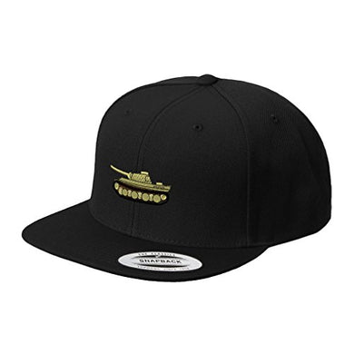 WWII Army Military Tank Embroidery Unisex Adult Snaps Acrylic Structured Flat Visor Snapback Hat Cap - Black One Size