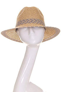 ScarvesMe Women's Adjustable Multi Color Band Accent Straw Beach Summer Brim Sun Hat