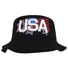 Load image into Gallery viewer, Trendy Apparel Shop USA Text 3D Embroidered Star Flag Printed Cotton Bucket Hat