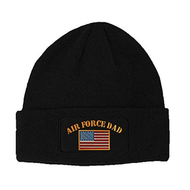 Speedy Pros Patch Beanie for Men & Women Air Force Dad A Embroidery Acrylic Skull Cap Hats Black 1 Size