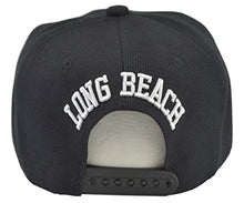 Load image into Gallery viewer, Long Beach Hat Snap-Back Black Hat White Embroidered