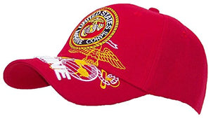 Ruffin US Marines 3D Embroidered Marine Ballcap Adjustable Hat  - Red