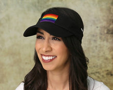 Load image into Gallery viewer, Embroidered Rectangle Rainbow Visor in Black in a Bag