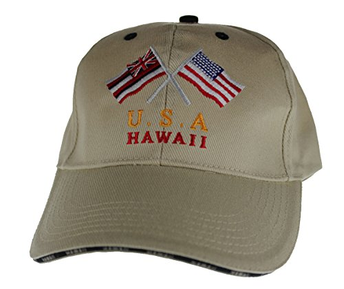 Embroidered USA & Hawaii Flag cap hats Khaki