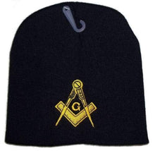 Load image into Gallery viewer, K's Novelties 8 Black Freemason Masonic Embroidered Winter Mason Beanie Skull Cap Hat