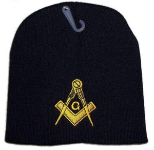 K's Novelties 8 Black Freemason Masonic Embroidered Winter Mason Beanie Skull Cap Hat
