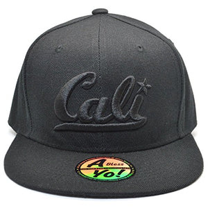 AblessYo Cali Embroidered Premium Flat Fitted Hats Closed Back Snapback Cap AYO4300