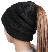 Load image into Gallery viewer, Boston TerrierEmbroidered Puppy Dog Series Beanie - Stretch Fleece Cable Knit High Bun Ponytail Skullies Hat Cap - Black