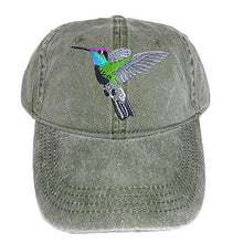 Load image into Gallery viewer, ECO Wear Magnificent Hummingbird Embroidered Cotton Cap Green
