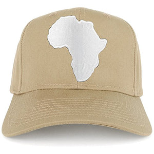 Solid White African Map Embroidered Iron on Patch Adjustable Baseball Cap