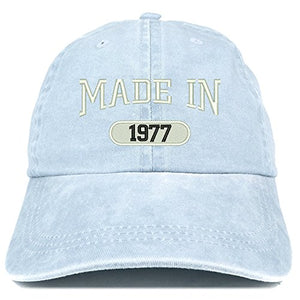 Trendy Apparel Shop Made in 1977 Embroidered 43rd Birthday Washed Baseball Cap