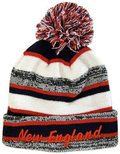 Load image into Gallery viewer, BVE Sports Novelties New England 4-Color Embroidered Adult Size Thick Winter Knit Pom Beanie Hat