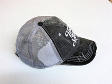 Load image into Gallery viewer, Embroidered Tired As A Mother Distressed Look Grey Trucker Cap Hat