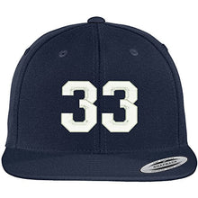 Load image into Gallery viewer, Trendy Apparel Shop Number 33 Collegiate Varsity Font Embroidered Flat Bill Snapback Cap