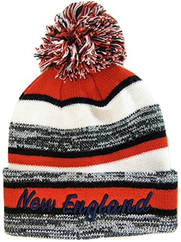 BVE Sports Novelties New England 4-Color Embroidered Adult Size Thick Winter Knit Pom Beanie Hat